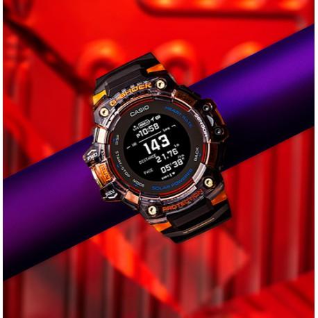 CASIO  G-SHOCK 心率偵測 GPS定位 藍牙太陽能運動錶   透明黑x橘  GBD-H1000-1A4
