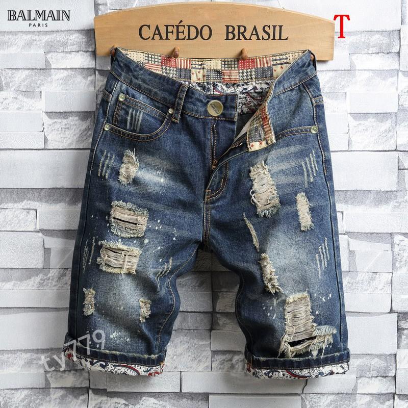 巴爾曼BALMAIN JEANS 丹寧牛仔短褲 牛仔短褲 水洗牛仔褲 破刷牛仔褲 小腳褲 上班褲 機車褲