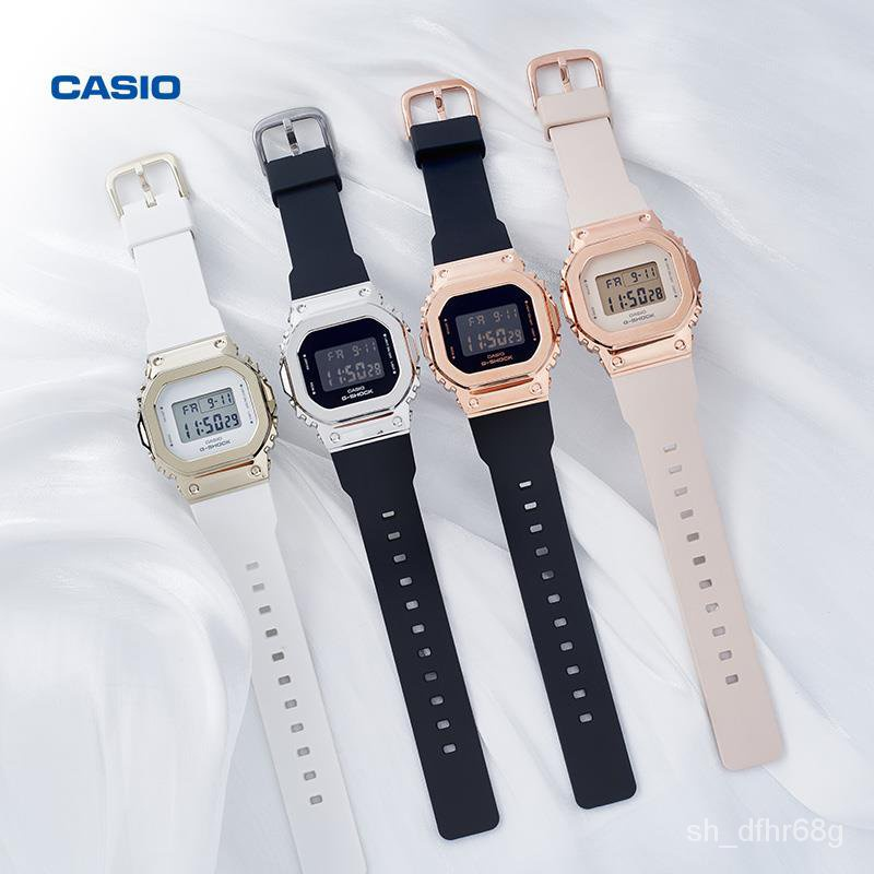 CASIO卡西歐手錶女G-SHOCK金屬小方塊防水學生運動女錶GM-S5600 Wq6z