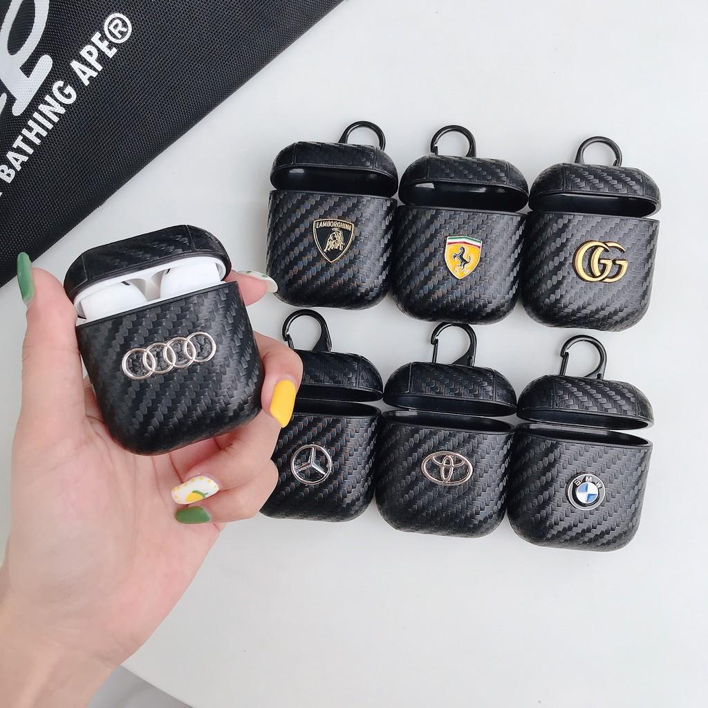 炭纖維車標金屬AirPods耳機套寶馬法拉利標誌蘋果AirPods2耳機保護套奔馳奧迪標AirPods1耳機包碳纖維紋黑