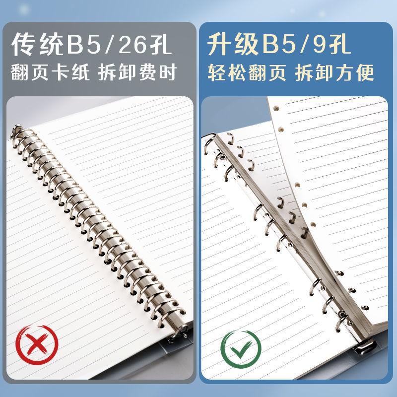 ☆☆活頁本筆記本b5可拆卸超厚網格活頁本外殼替芯a5簡約學生筆記本