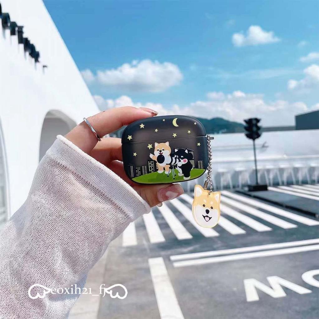 台灣出貨☆ins望遠鏡柴犬 Airpods Pro保護套 AirPods1/2代保護殼 配掛件 蘋果無綫藍牙耳機收納盒
