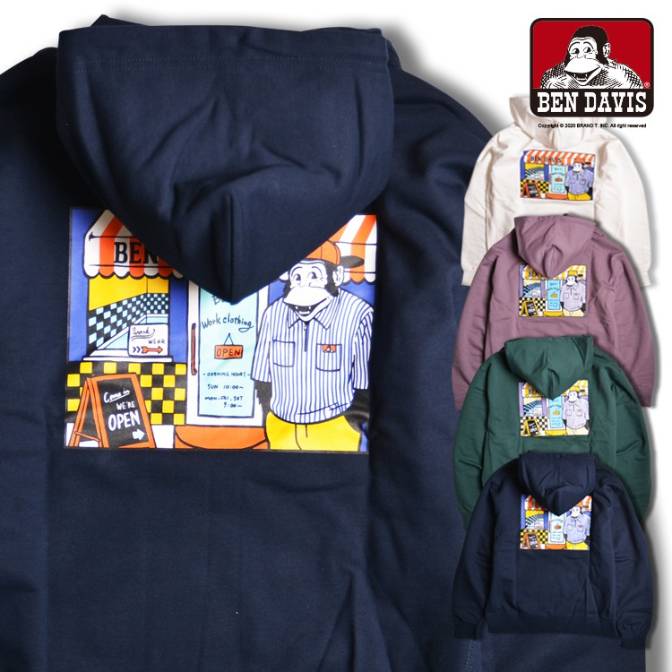 BEN DAVIS BEN'S SHOP HOODIE 商店 猿人 卡通 連帽 T恤 帽T 4色