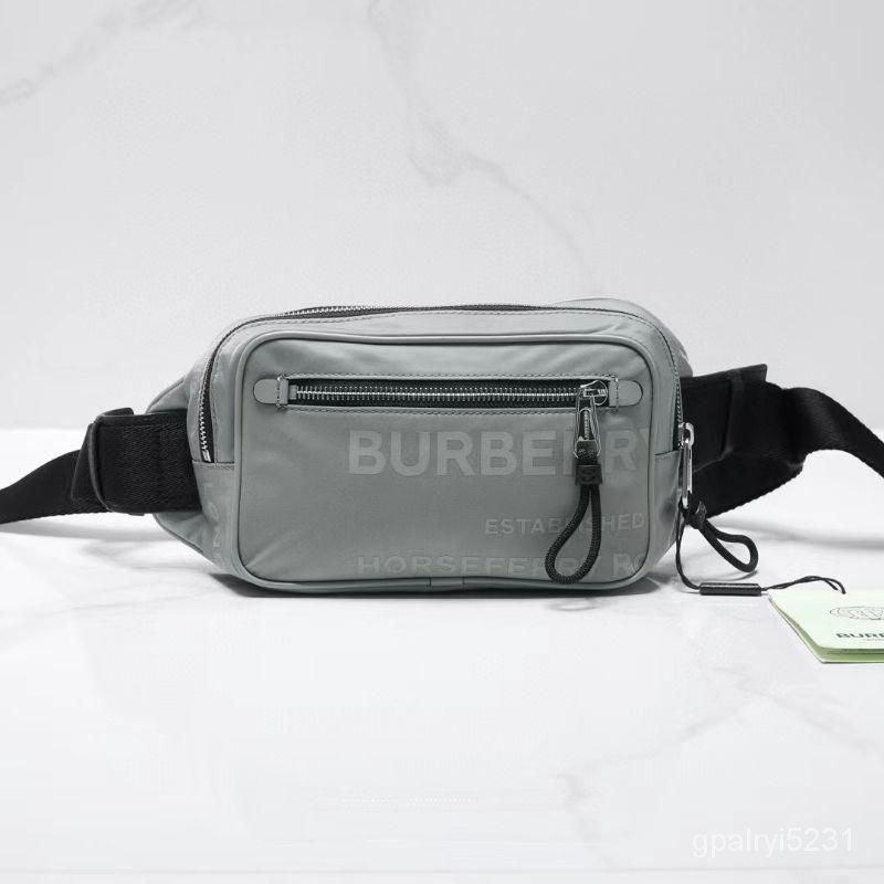 二手Burberry 巴寶莉 灰色字母印花腰包 時尚百搭款 OLEa