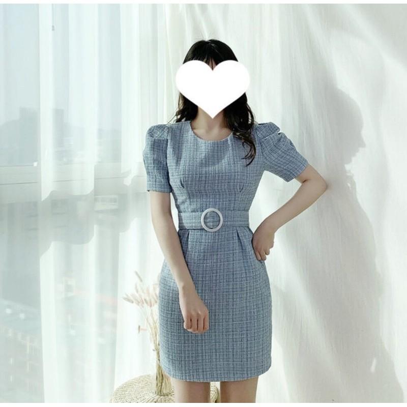 Korea韓國連線·正韓 氣質毛呢腰帶短洋裝 連身裙