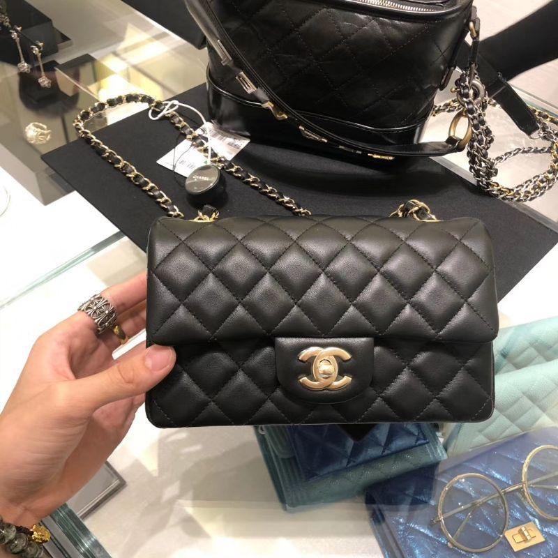 【全新真品僅一顆】Chanel cf 鏈條包 香奈兒 A69900 Coco 黑色羊皮菱格紋 淡金扣 肩背包 經典款