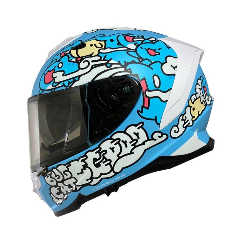 Nikko N806 / N-806 安全帽 咖波 聯名款 咖波藍 全罩 排扣 內藏墨鏡 浮動式鏡座 贈電鍍片《淘帽屋》