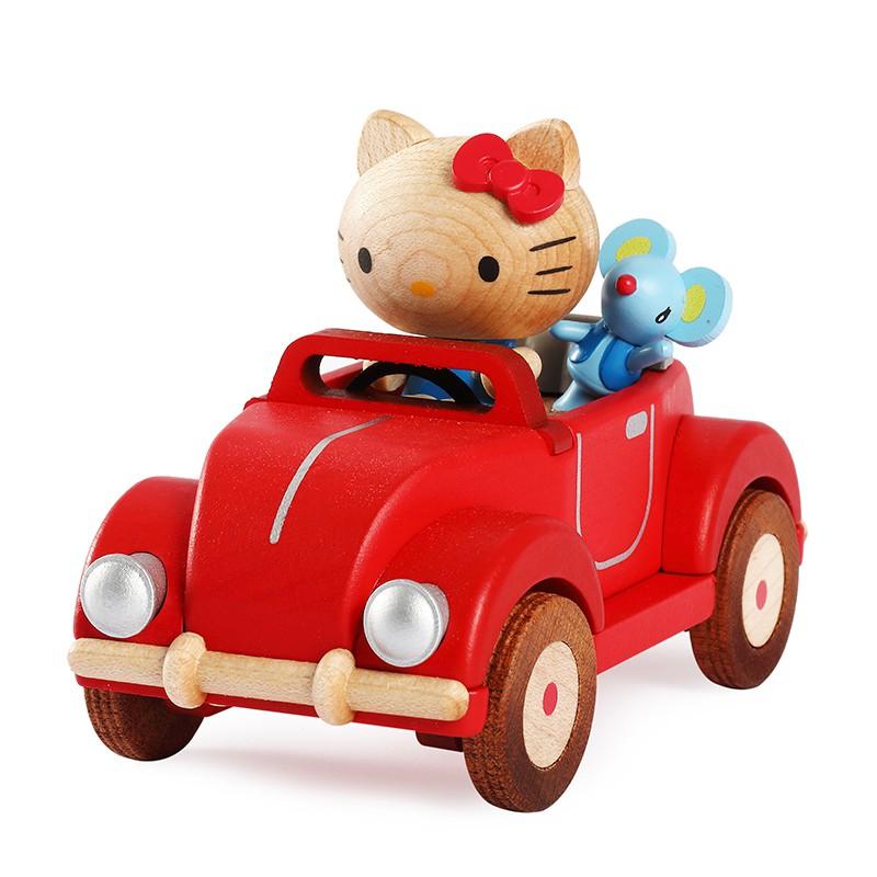 音樂盒 jeancard木質音樂盒八音盒女生女孩兒童生日情人節禮物kitty小車