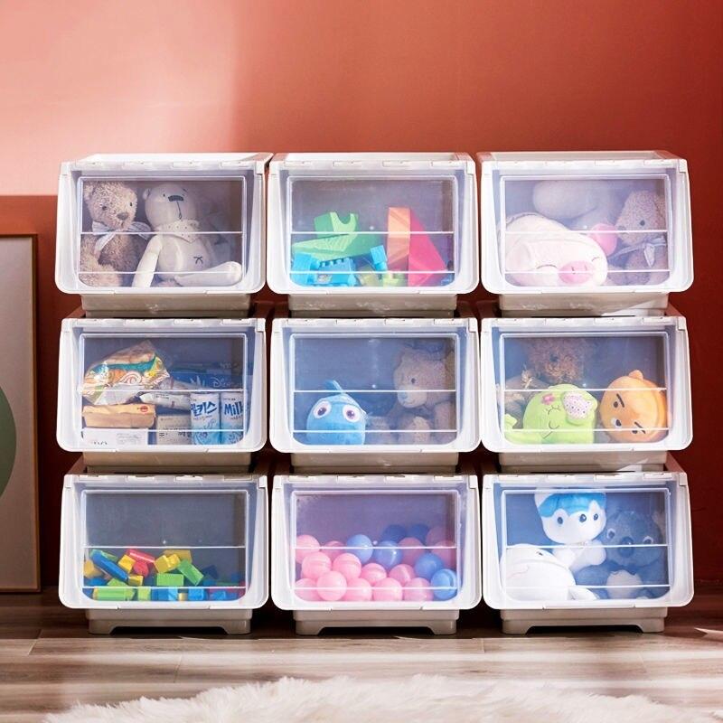 斜口收納箱 兒童玩具收納箱 整理箱 透明翻蓋 零食收納盒 抽屜收納櫃 儲物盒 前開式