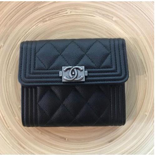 全新真品 BOY Chanel 經典 菱格紋 黑色 荔枝皮 復古銀 三折 短夾 A80734