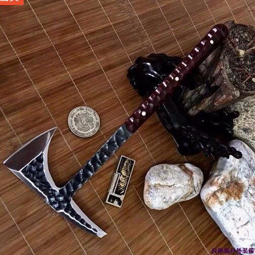 現貨 全場現貨純手工鍛打戶外開山斧劈柴斧頭石紋幽靈斧頭紅酸枝荒野求生野戰斧