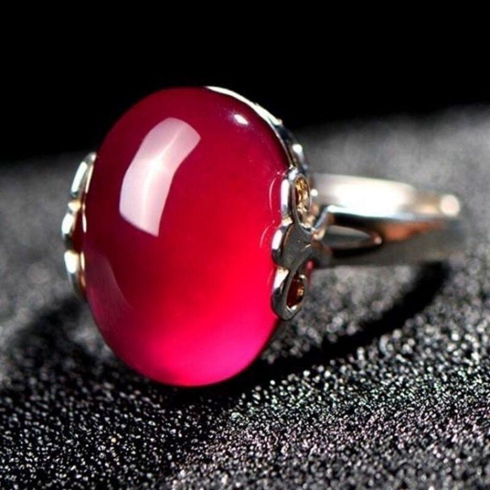 正品天然紅玉髓寶石S925純銀戒指女紅瑪瑙開口戒子復古時尚禮物女