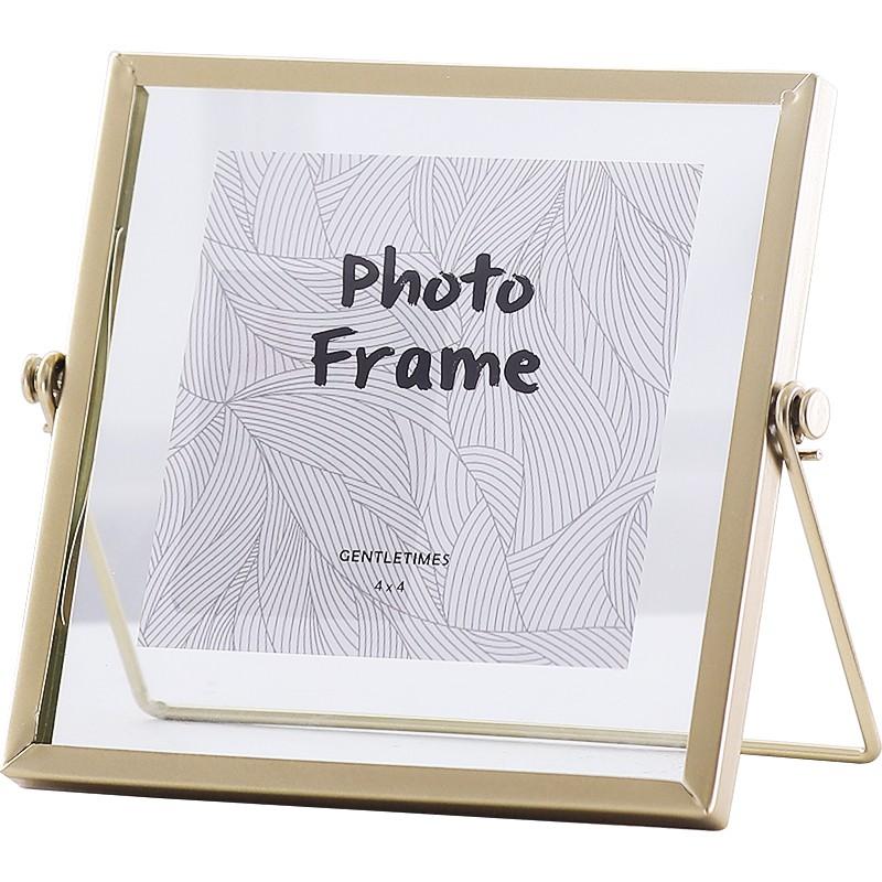 北歐金屬玻璃相框擺臺創意照片裝飾畫框diy像框房間桌面裝飾擺件