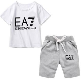 Armani EA7兒童套裝 兒童兩件套 休閒運動服 EA7童裝 上衣 圓領T恤 抽繩短褲 男童套裝 女童套裝 親子裝 桃園市