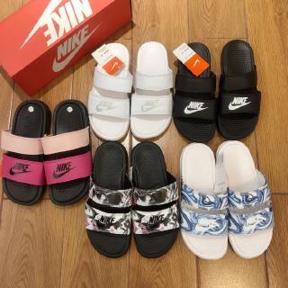 耐克·貝納西(Nike Benassi)女鞋黑白雙綁帶拖曳男士沙灘拖鞋819717