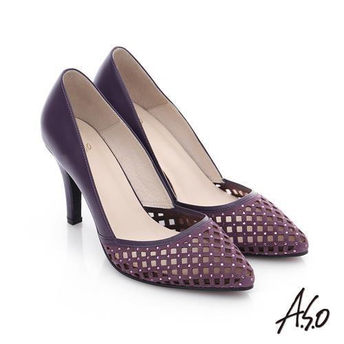 A.S.O 璀璨注目 真皮鏤空貼鑽高跟鞋  紫