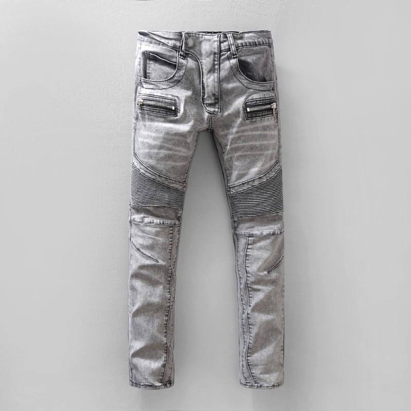 巴爾曼牛仔褲 歐美風破洞時尚男士牛仔褲BALMAIN彈力修身小腳第法國時尚青年徽章破洞潑墨漂白褲子