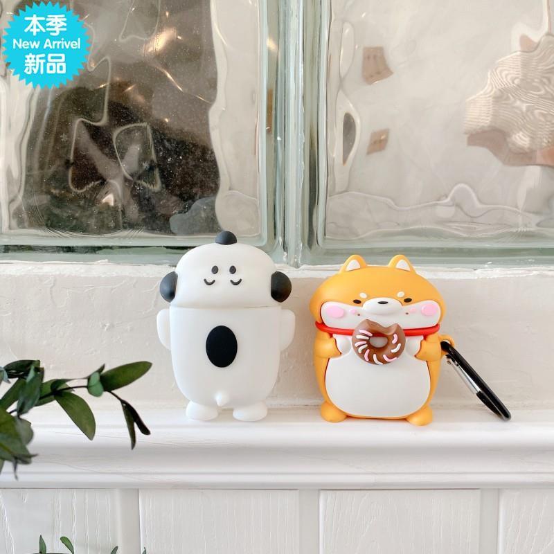 {捷碩}甜甜圈柴犬適用AirPods保護套蘋果1/2/Pro耳機套可愛卡通情侶軟殼