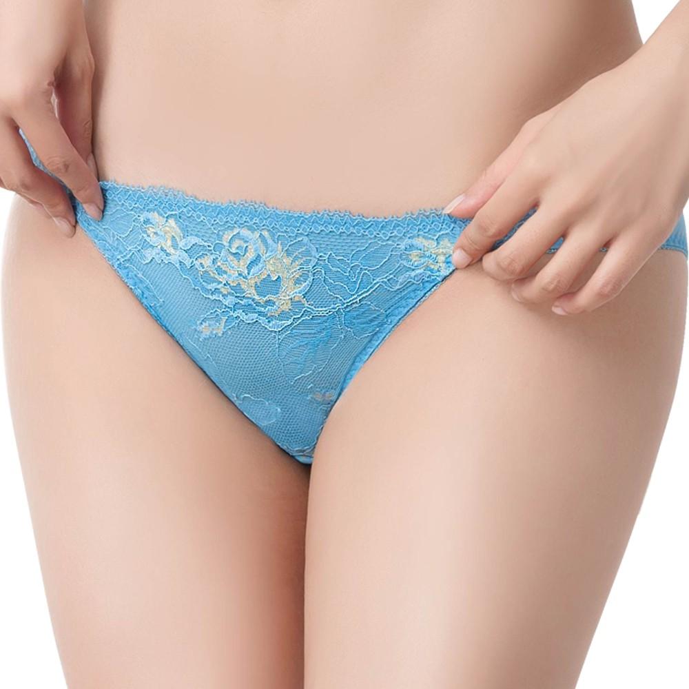 SWEAR 思薇爾 撩波系列M-XXL蕾絲低腰三角內褲(水瓶藍)