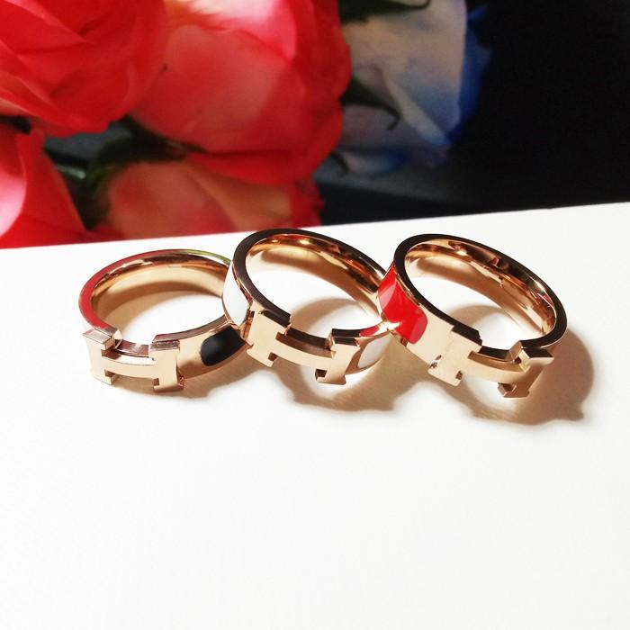 熱賣商品字母琺瑯戒指 鈦鋼鍍18k玫瑰金 愛馬仕風格
