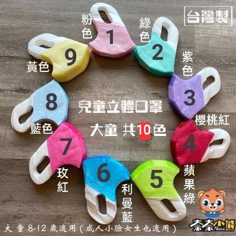 NANA奈奈小熊兒童、中幼童立體防護口罩➡️大童8-12歲,中幼童5-8歲兒童口罩