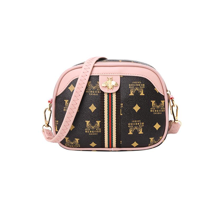 時尚歐美復古女士斜背包 印花彩帶配色半圓手機包側背包 單肩斜跨學生包包