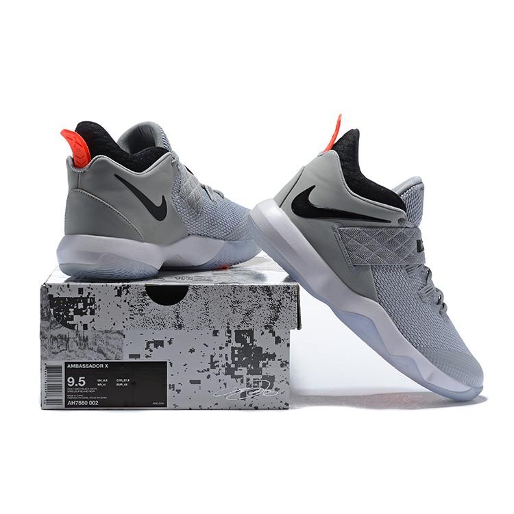NIKE Ambassador X 詹姆斯 使節10 實戰氣墊籃球鞋 男鞋 低幫運動鞋 灰黑 AH7580-002