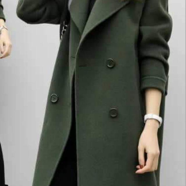 毛呢大衣,雙排扣,中長
