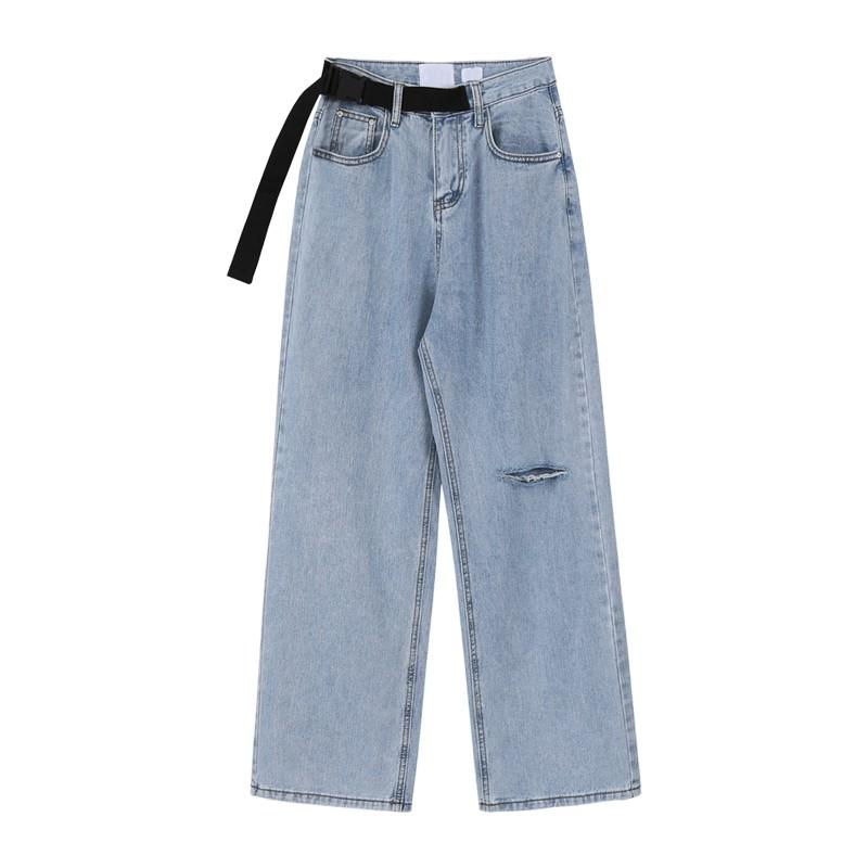 &促銷全場&BANANA VOGUE高腰牛仔褲女系帶夏季2020新款韓版寬松破洞闊腿長褲