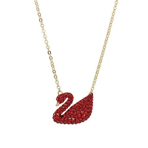 SWAROVSKI 施華洛世奇 Iconic Swan紅色水晶天鵝造型金色項鍊 5465400 廠商直送