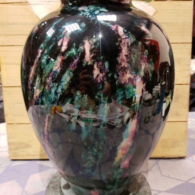 台灣國寶(花蓮七彩玉聚寶盆)含大理石雙層旋轉底座。收藏品,市價4萬