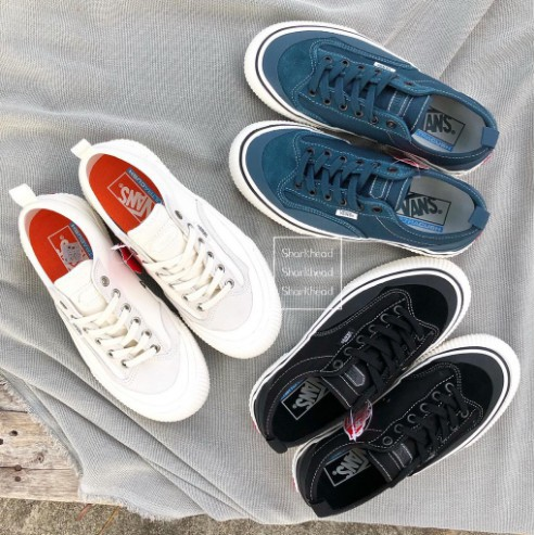 Vans Destruct SF 米白 麂皮 黑 低筒 綁帶 帆布 滑板鞋 麂皮 餅乾鞋 藍