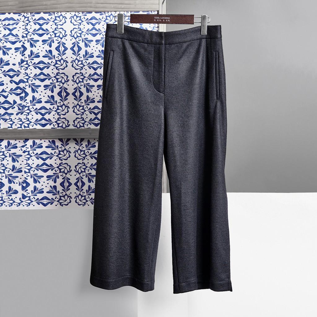 特殊剪裁和暖羊毛側衩寬褲 有口袋