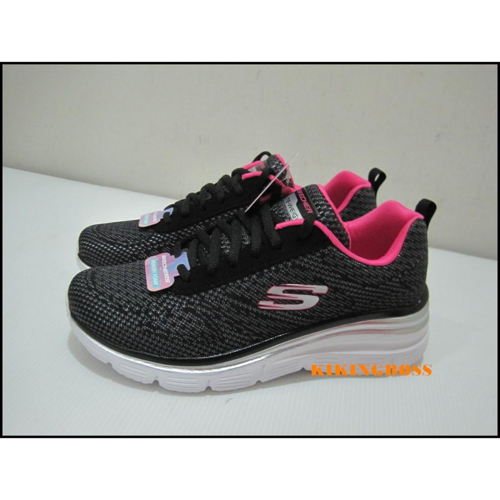 SKECHERS 女款 健走系列 慢跑鞋 運動鞋  黑/桃紅色 12719BKHP