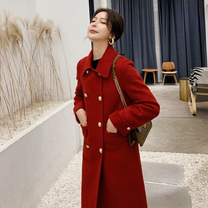 雙面羊絨大衣女秋冬新款2020韓版紅色呢子高端休閑毛呢外套中長款