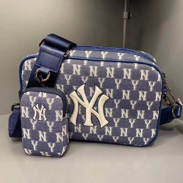 韓國連線代購 | 正品 MLB KOREA Monogram系列 紐約洋基隊 藍色老花子母肩背包|預購