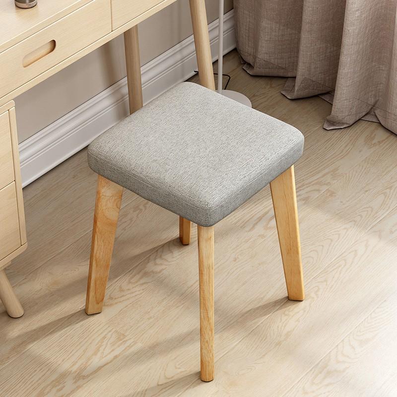 創意家用布藝小凳子成人時尚化妝小板凳現代簡約實木椅子圓凳矮凳