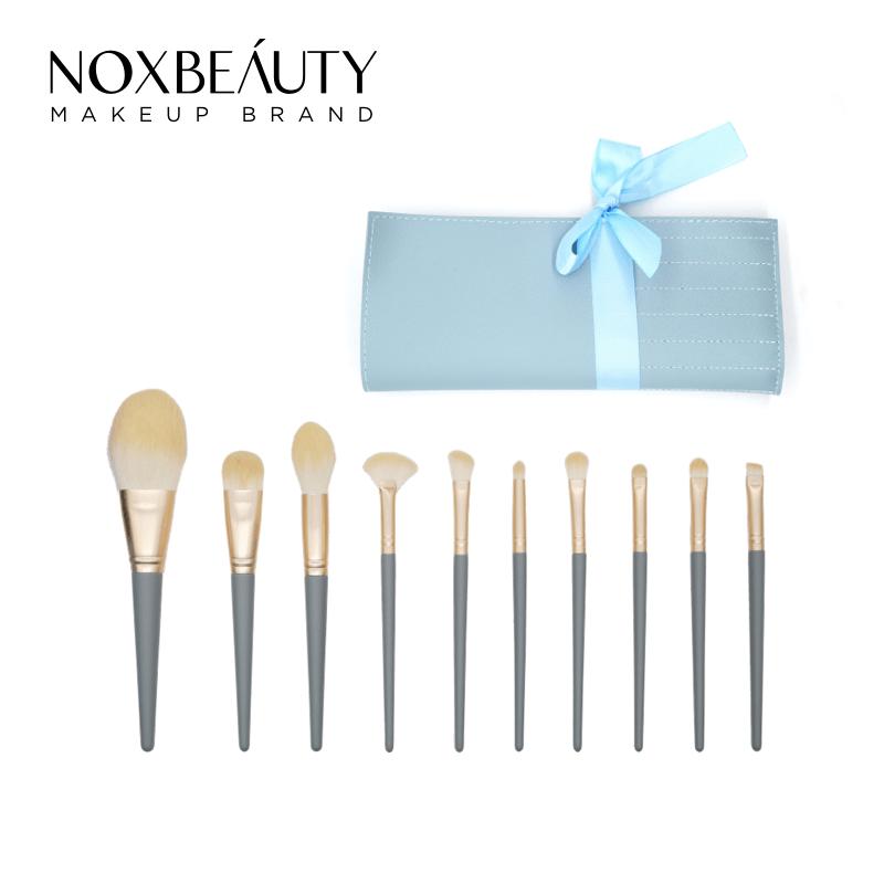 NOXBEAUTY 10支灰藍化妝刷 刷具 帶刷包