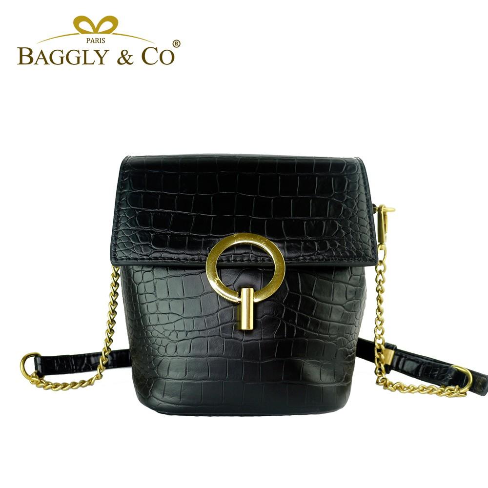 【BAGGLY&CO】小勒納姆鱷魚紋肩背側背包(二色)