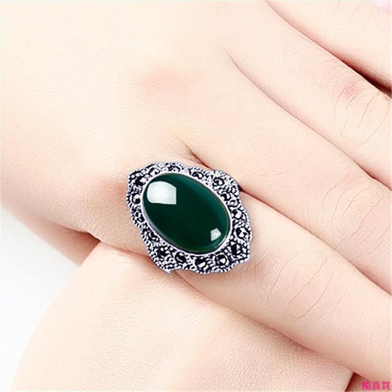 首飾正品泰銀綠玉髓紅玉髓戒指純銀個性復古瑪瑙戒指母親節送媽媽禮物