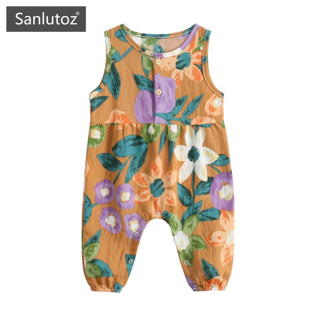 Sanlutoz 印花無袖女寶寶連體衣 夏季純棉嬰幼兒包屁衣
