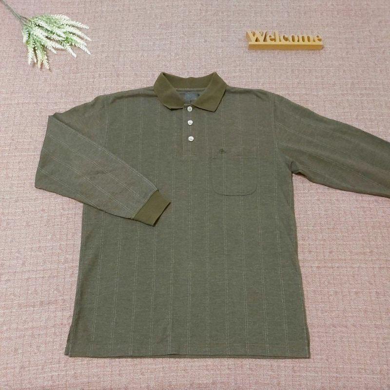 PIERRE BALMAIN 皮爾帕門 型男必備 經典Logo口袋 橄欖綠 條紋 長袖Polo衫 m