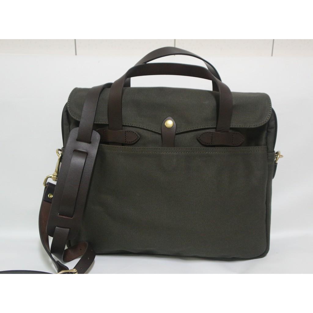 【G.Vintage】複刻 FILSON 256 軍綠色重磅帆布/公事包/ 側背包/ 筆電包(首賣特價現貨含運)
