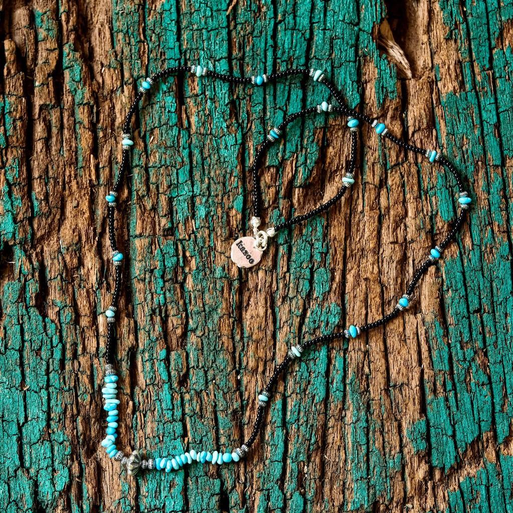 日本手作 Kazoo 美國睡美人湛藍松石/古董貿易珠/銀珠項鍊