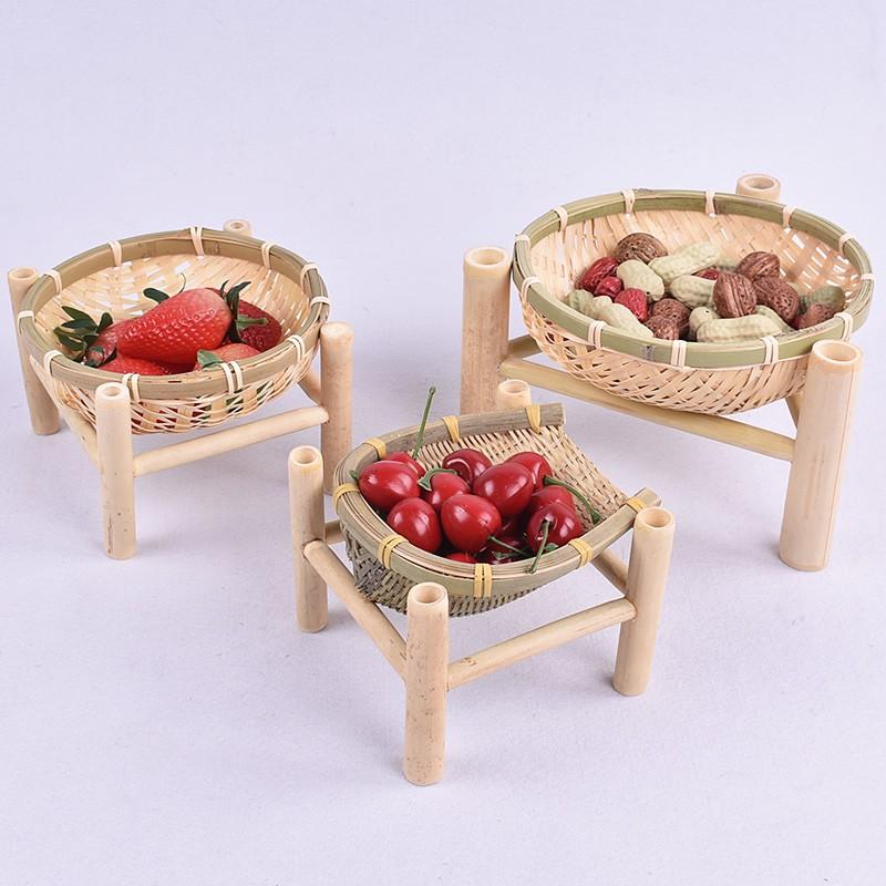 環保竹製 純手工竹編筐時尚水果籃瓜子簍茶點盤零食盤點心籃創意迷你竹編籃 現貨