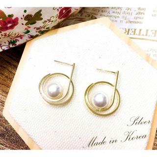 HaN 韓國 925純銀 環繞設計 金色線條 珍珠 時尚 耳針式耳環 臺中市