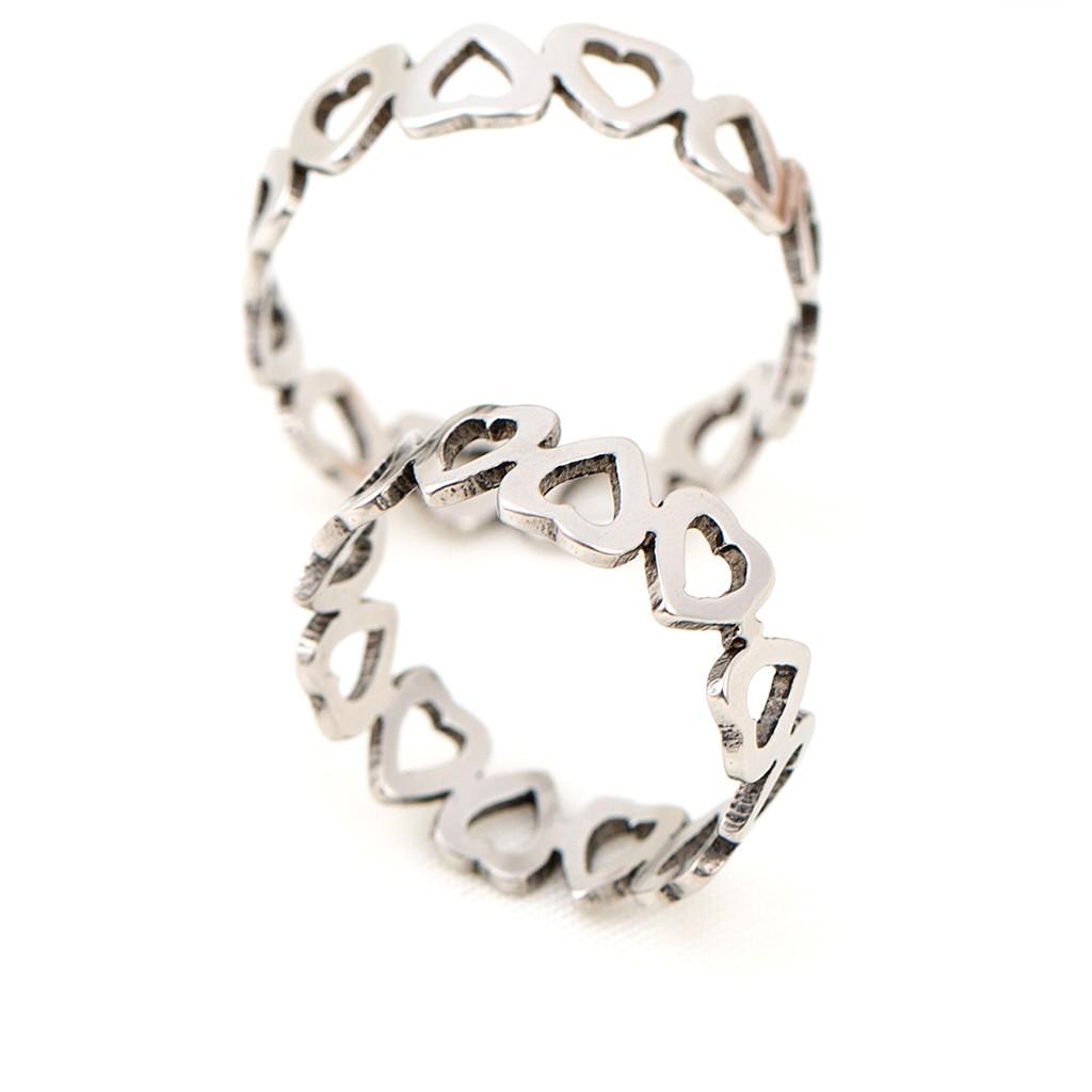 心花怒放 鏤空 鋼戒 戒指 鈦鋼 防過敏 15-19號 心花朵朵開戒指 艾豆 NH7001