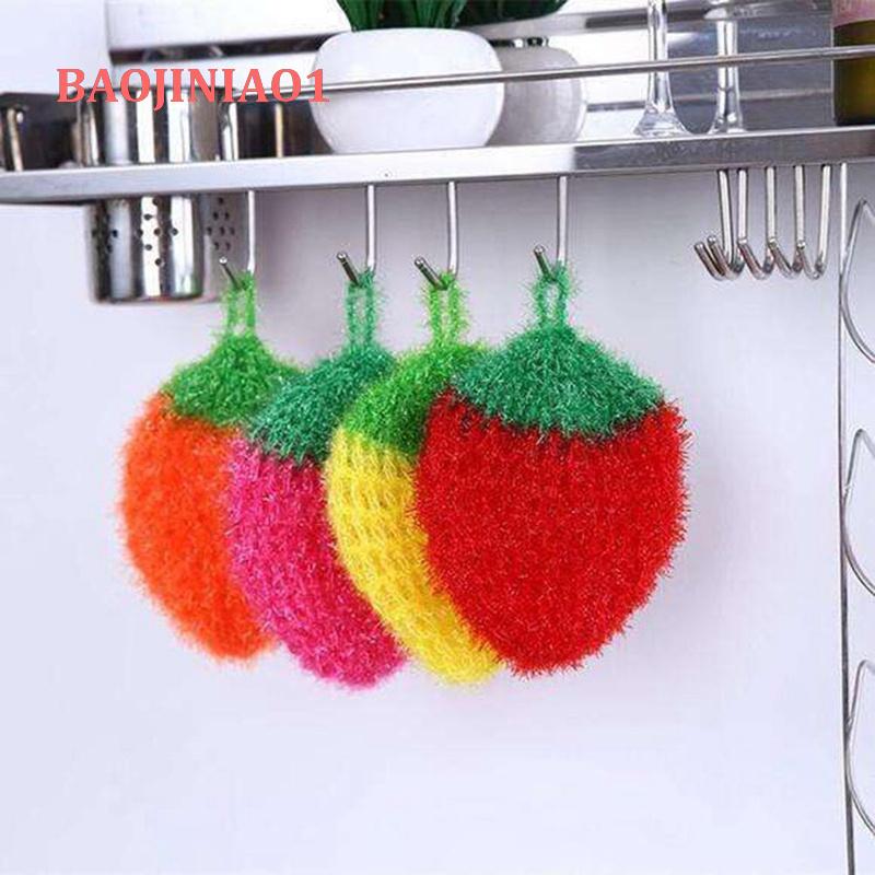 Baojiniao1 韓國亞克力洗碗巾 不粘油鉤花絲光草莓刷碗巾洗碗布