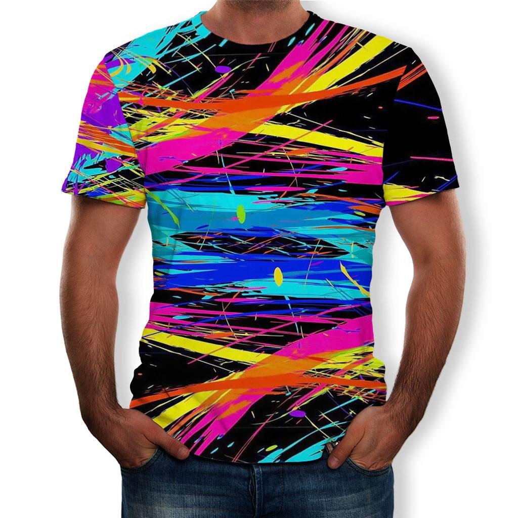 男士搞笑3D彩色打印圓領短袖T恤上衣每日上衣T卹男生衣服短袖t恤