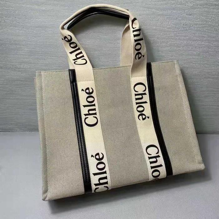 CHLOE WOODY TOTE BAG托特包 手提袋 帆布手提包 購物包 購物袋 單肩大包 帆布包 女包 沙灘包